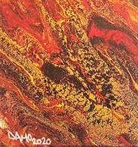 No 17R Damo Australia Burning 3 20cm x 20cm